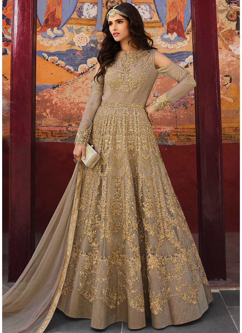 Embroidered Cold Shoulder Anarkali Suit in Beige