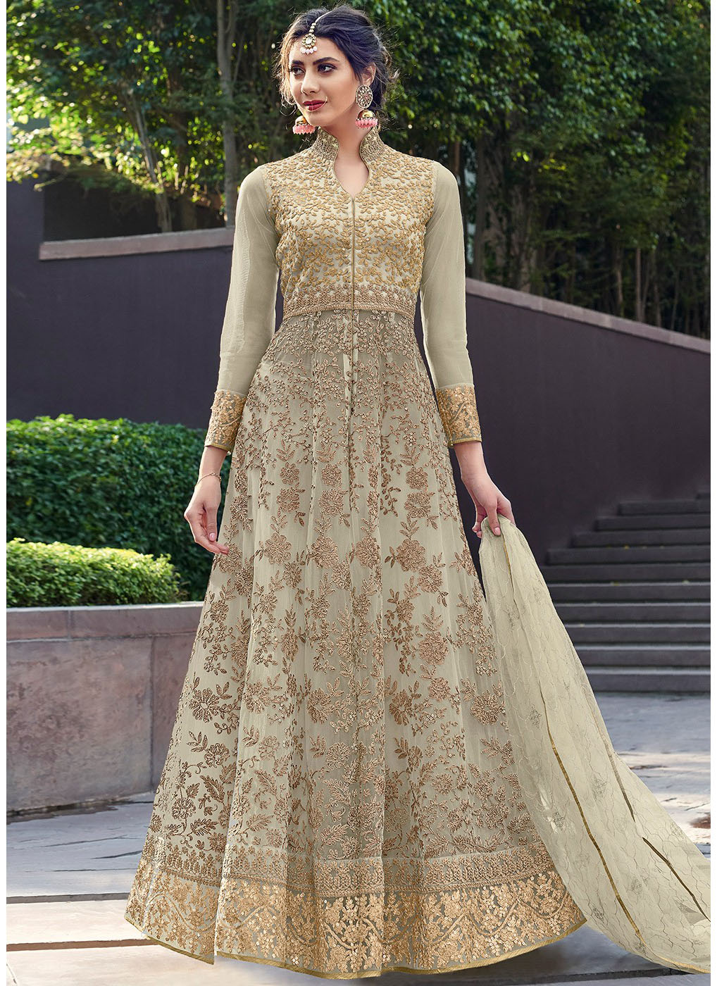 Net Embroidered Anarkali Lehenga in Light Green