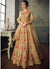 Full Sleeve Embroidered Lehenga Style Anarkali in Beige