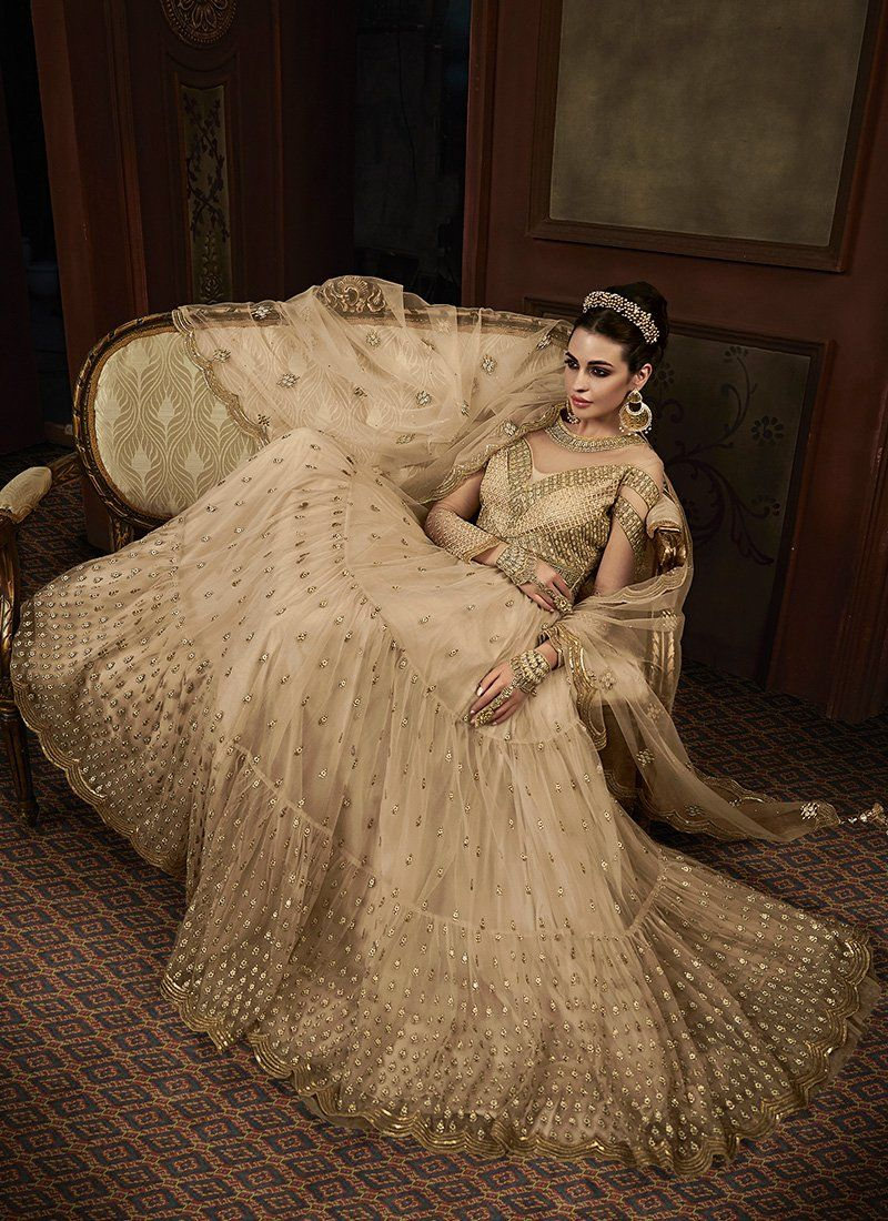 Embroidered Net Party Wear Abaya Suit in Beige