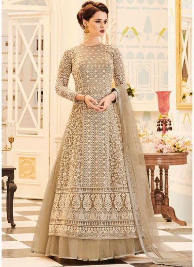 Georgette Net Twin Layered Lehenga Style Suit