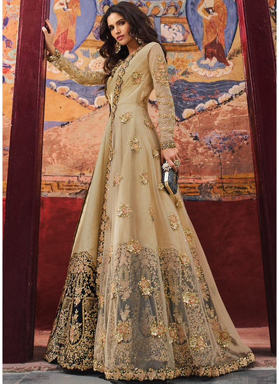 Beige Embroidered Jacket Style Anarkali