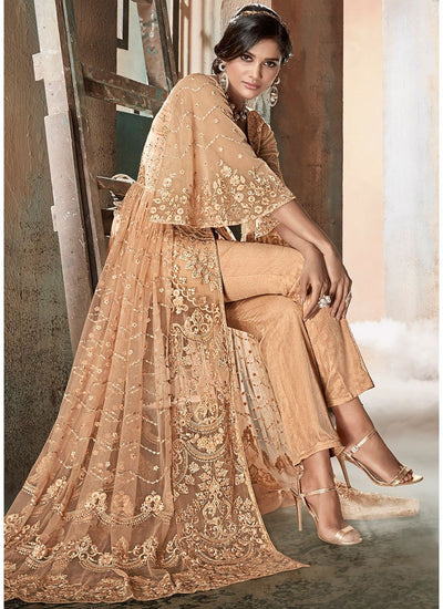 Beige Front Slit Embroidered Pant Suit