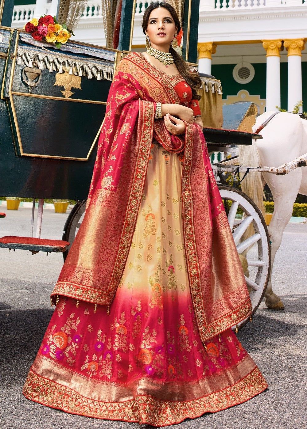 b61ce50590 Pink Shaded Pure Silk Bridal Lehenga Choli - Haya Creations