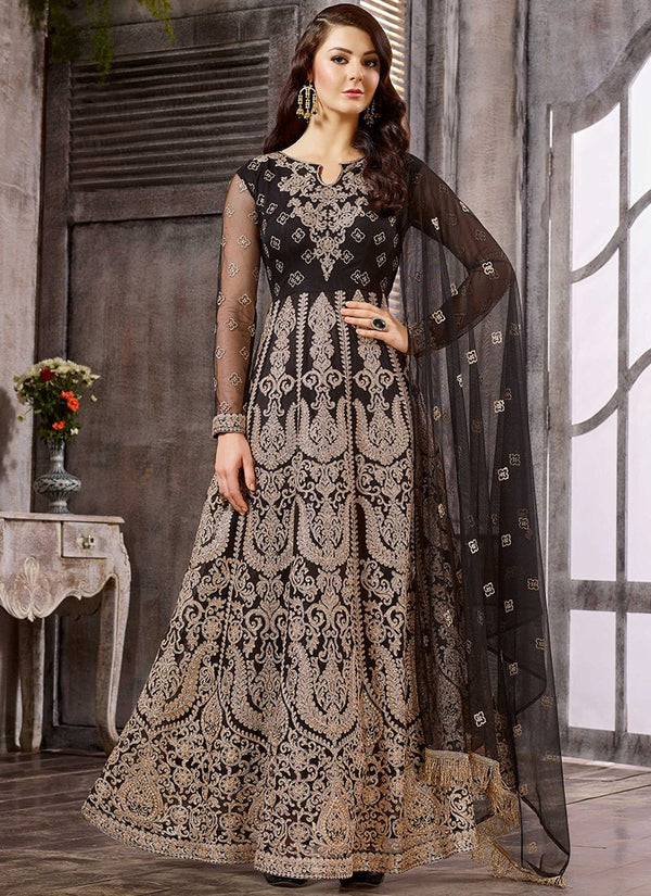 Embroidered Net Party Wear Anarkali in Black