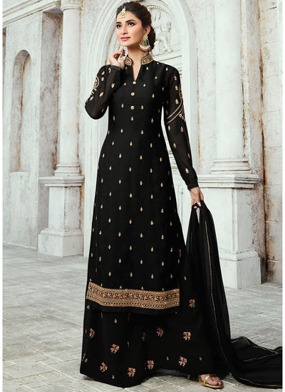 Black Embroidered Georgette Palazzo Suit