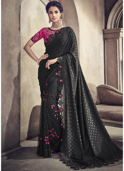 Embroidered Lycra Saree in Black