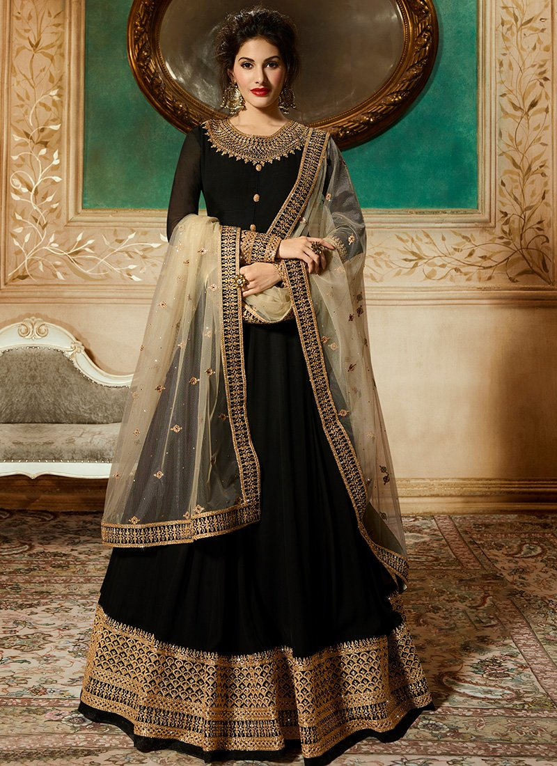 Black Georgette Jewel Neck Abaya Style Kameez
