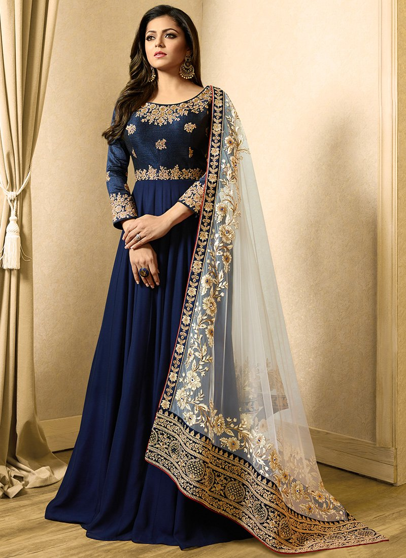 Georgette and Art Silk Abaya Style Suit