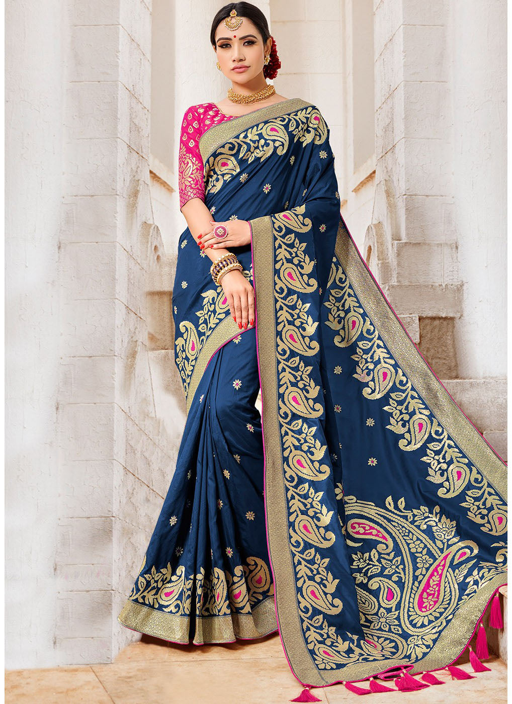 Blue Banarasi Silk Saree with Pink Blouse