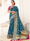 Blue Banarasi Silk Woven Saree with Pink Blouse