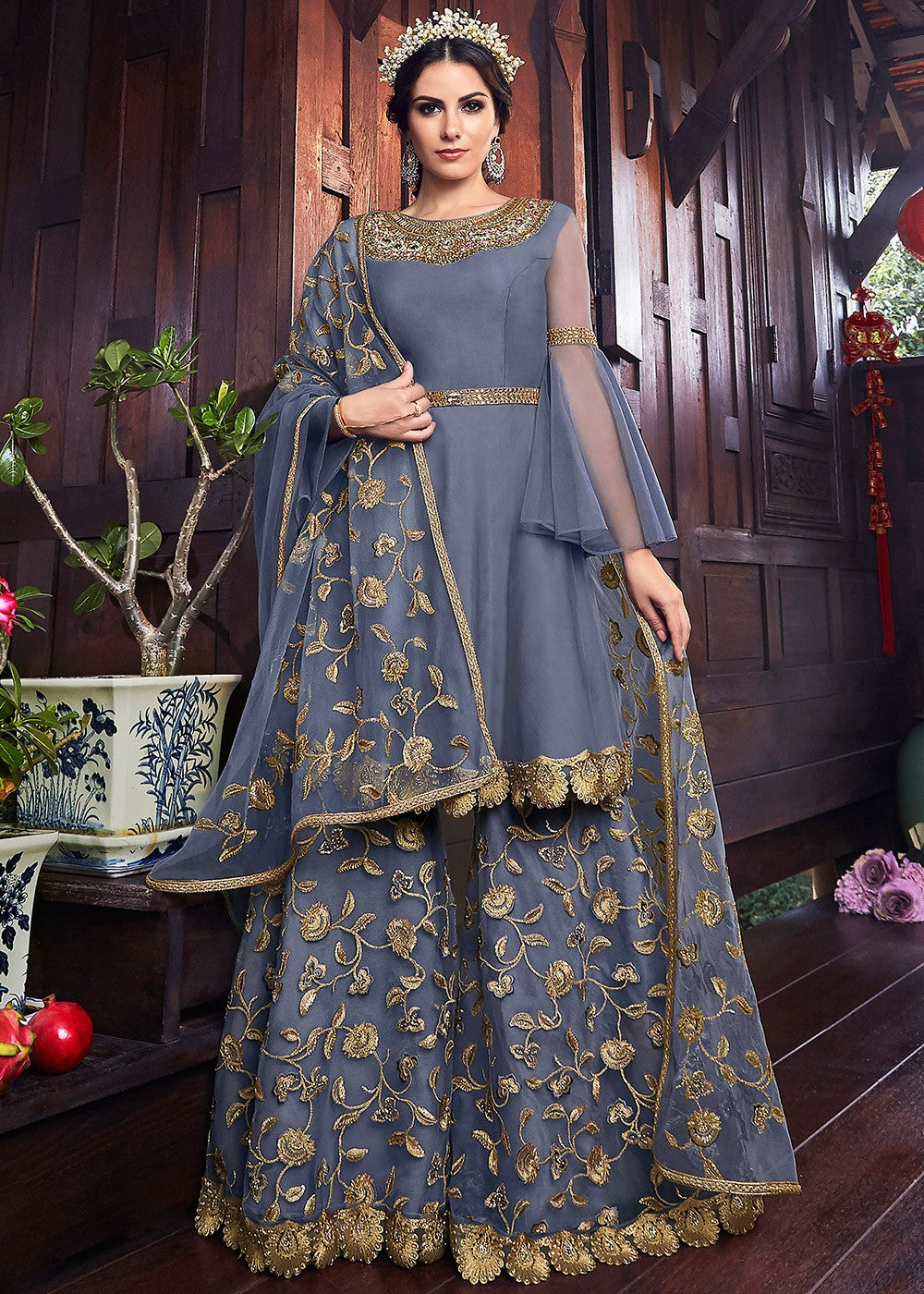 Embroidered Net Sharara Suit in Blue