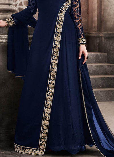 Blue Full Sleeve Abaya Style Suit in Georgette