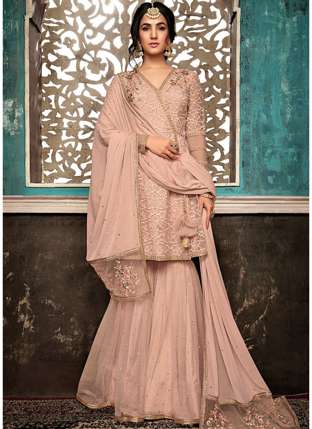 Embroidered Sharara Suit in Dusty Pink