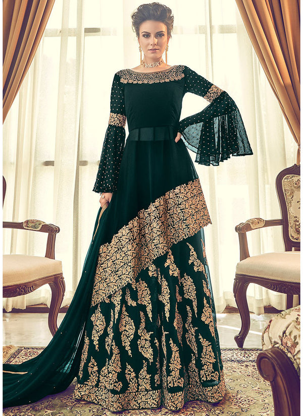 Dark Green Embroidered Sharara Suit