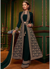 Embroidered Jacket Style Palazzo Suit in Dark Green