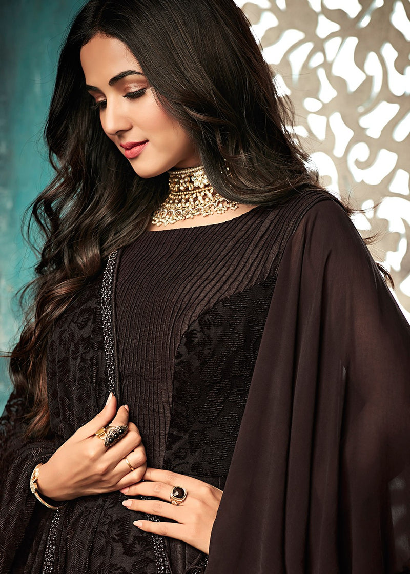 Brown Bell Sleeved Abaya Style Suit