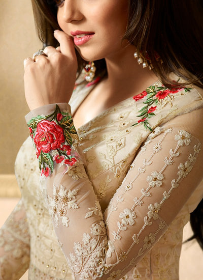Embroidered Net Lehenga in Cream Color