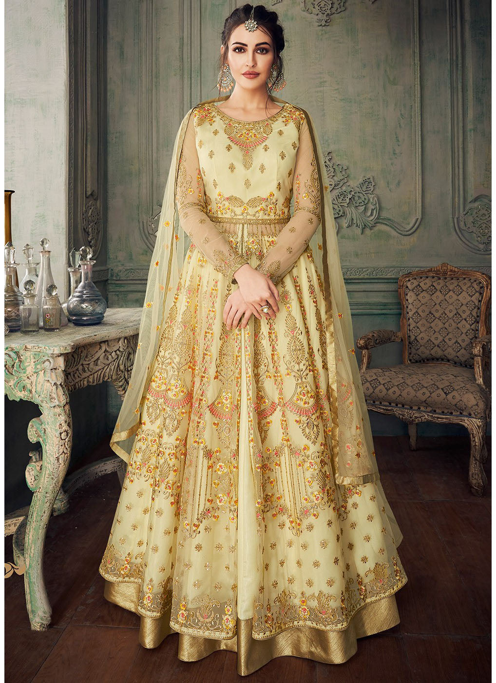 Embroidered Lehenga Style Anarkali in Cream Color