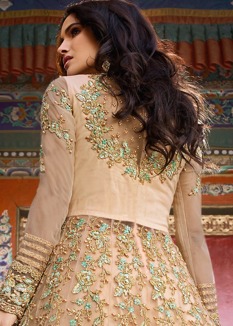 Embroidered Front Slit Kurti Style Lehenga in Light Beige