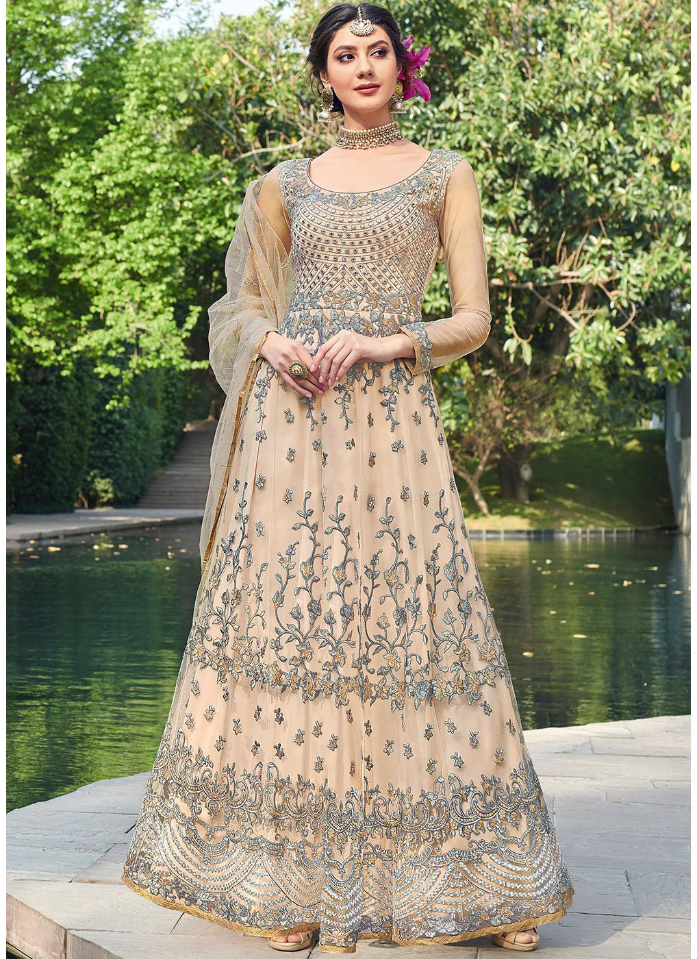 Embroidered Net Anarkali Salwar Kameez in Beige