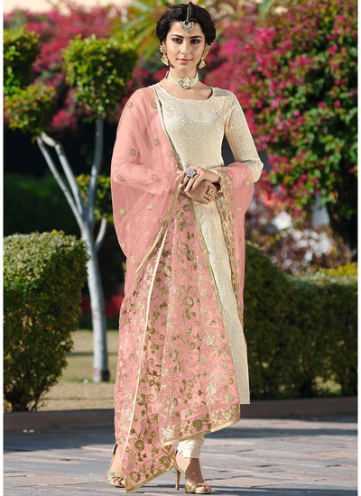 Jacquard Woven Brocade Salwar Suit with Pink Net Dupatta