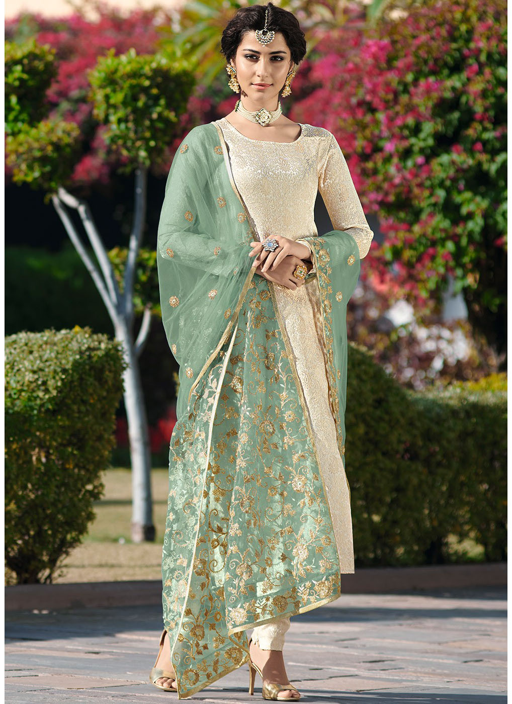 Jacquard Woven Brocade Salwar Suit with Green Net Dupatta