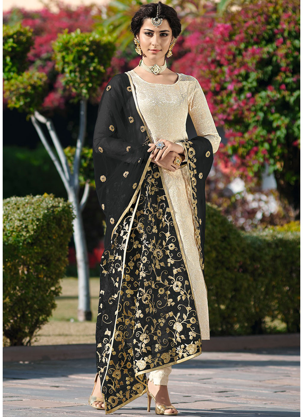 Jacquard Woven Brocade Salwar Suit with Black Dupatta