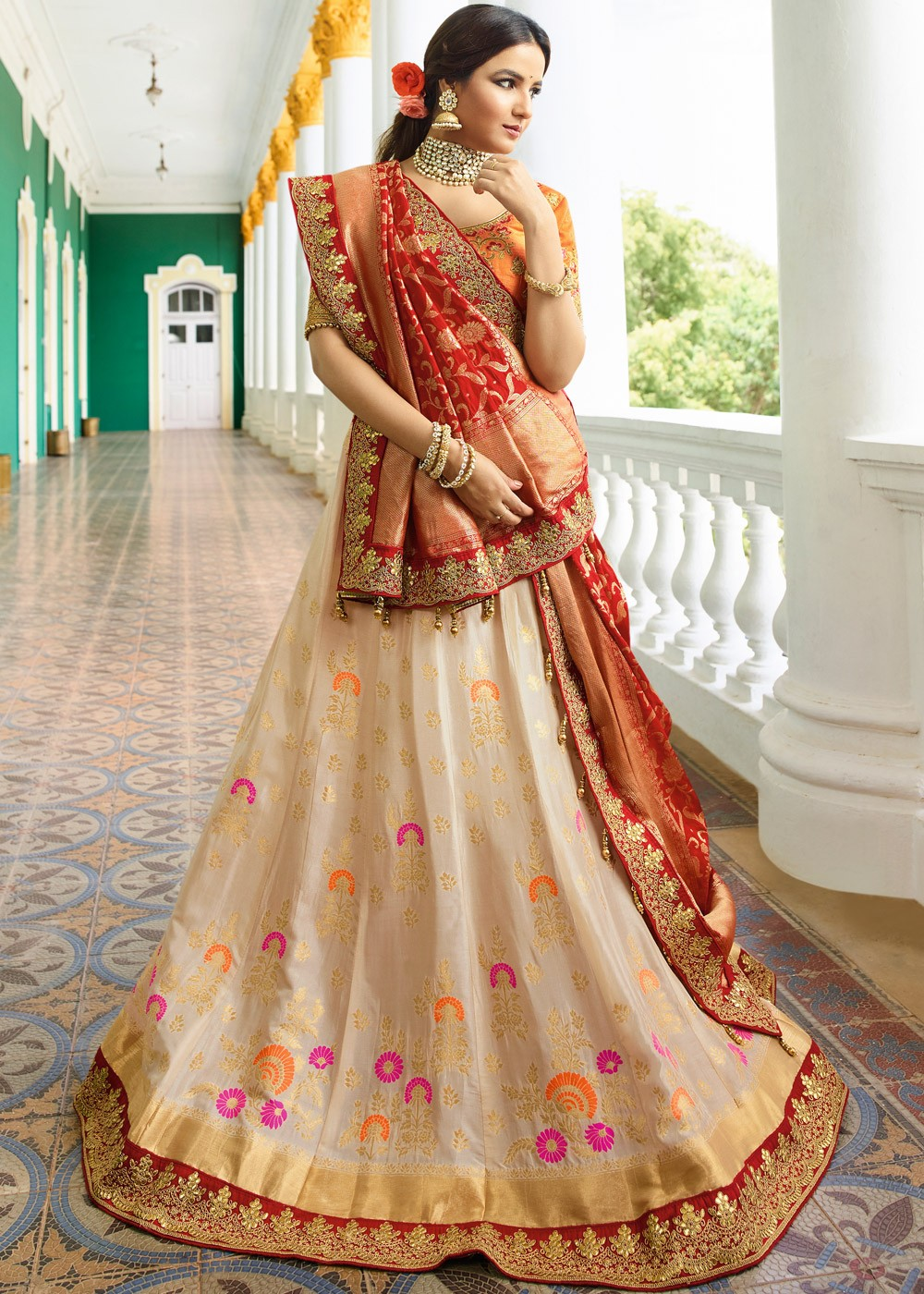 58d2df52f8 Pure Silk Lehenga Choli in Cream Color - Haya Creations