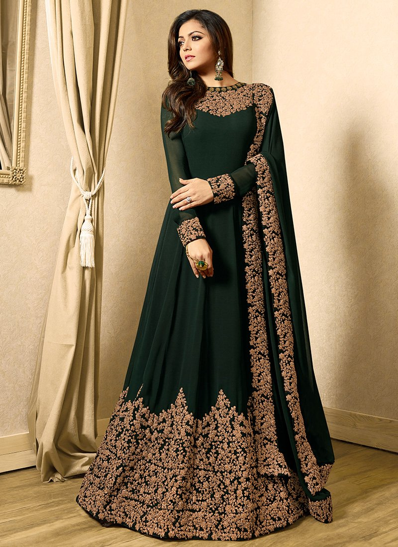 Embroidered Green Georgette Abaya Style Suit