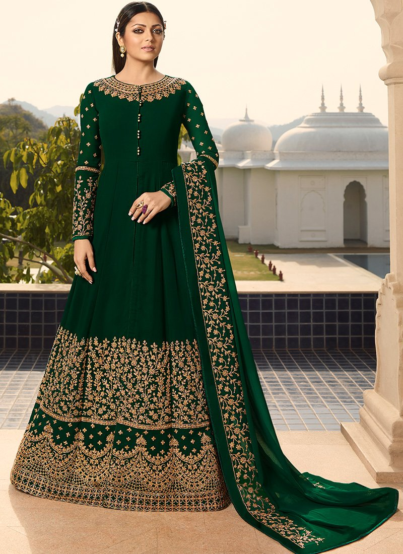 Embroidered Floor Length Abaya Style Anarkali in Dark Green
