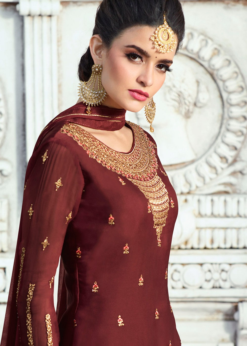194d2337dc7 Dark Maroon Embroidered Palazzo Suit - Haya Creations