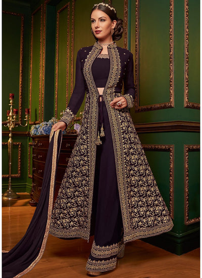 Embroidered Jacket Style Palazzo Suit in Dark Purple