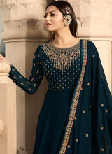 Embroidered Georgette Anarkali in Dark Teal Blue