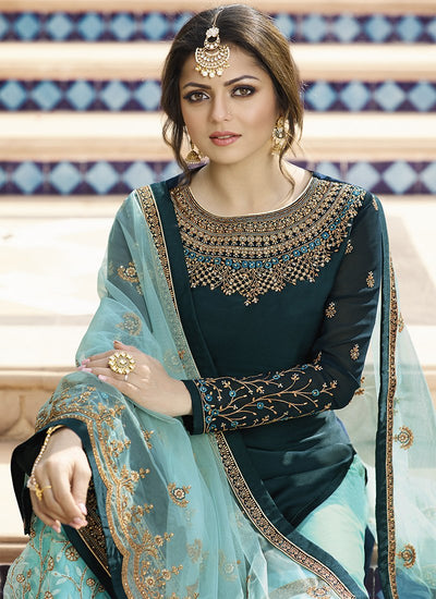 Blue Embroidered Sharara Suit
