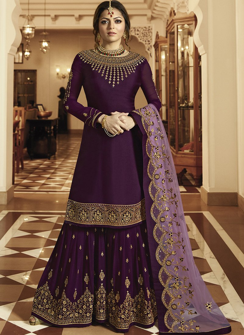 Purple Embroidered Sharara Suit
