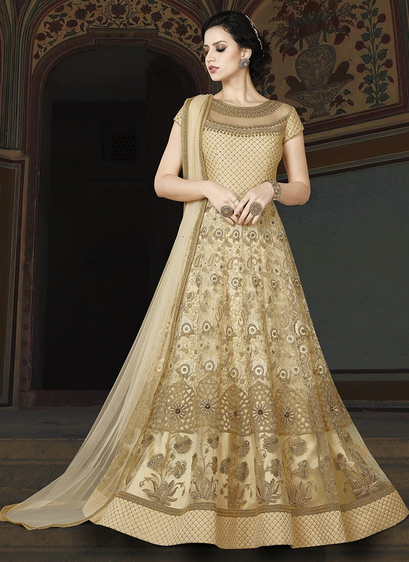 Embroidered Net Long Anarkali Dress in Beige