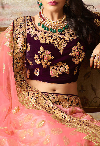 Embroidered Art Silk Lehenga with Violet Velvet Choli