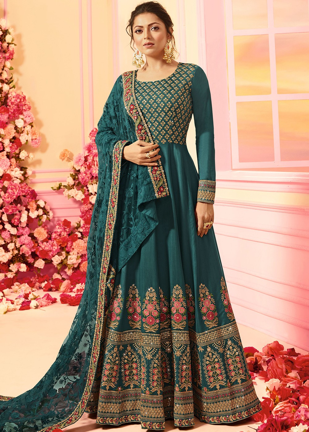 Teal Green Full Sleeved Abaya Style Kameez in Georgette