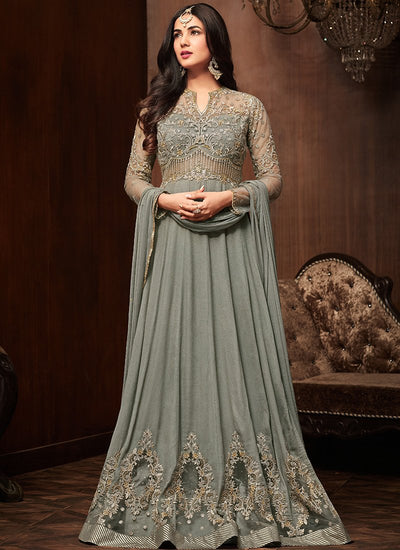Grey Crepe Floor Length Anarkali Suit