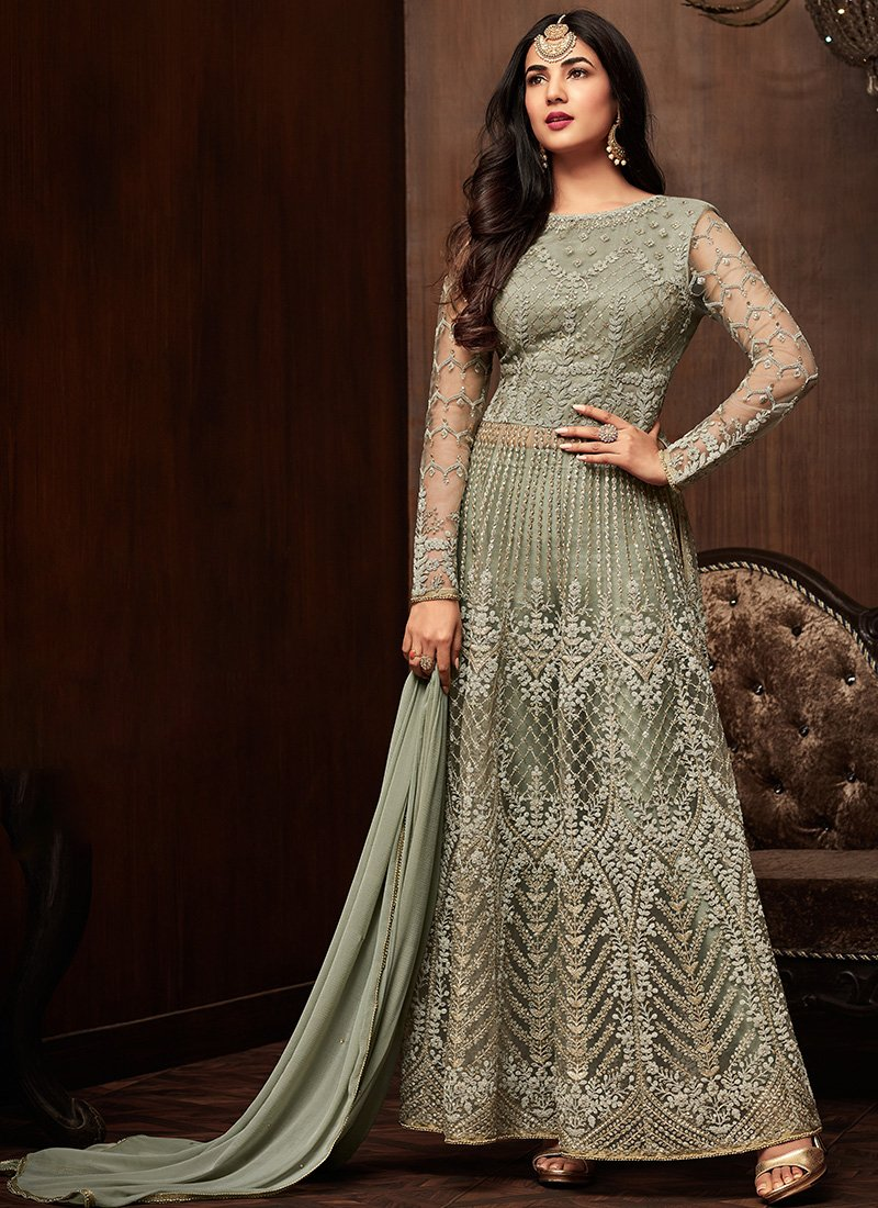 Green Embroidered Net Party Wear Anarkali