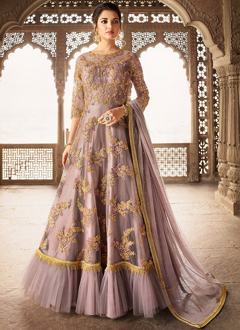 Floor Length Anarkali Suit in Lavender Pink