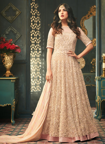 Embroidered Net Abaya Style Wedding Anarkali in Beige