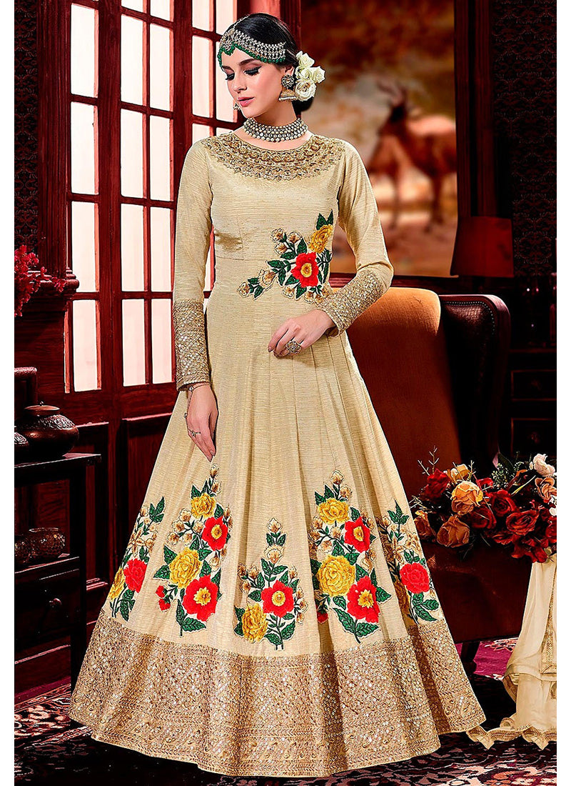 Party Wear Art Silk Abaya Style Anarkali in Dusty Yellow