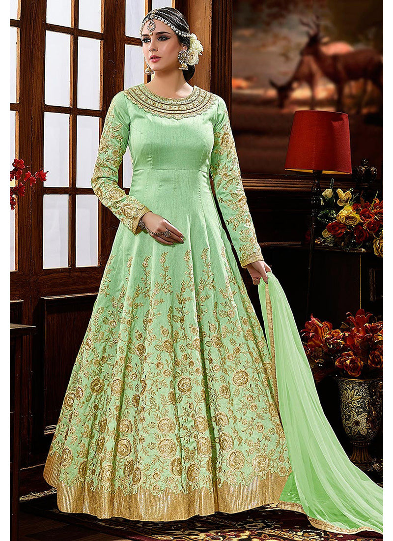 Party Wear Art Silk Abaya Style Anarkali in Sea Green