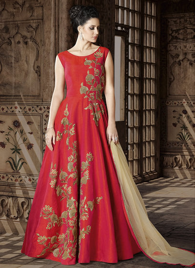 Sleeveless Art Silk Abaya Style Dress in Red
