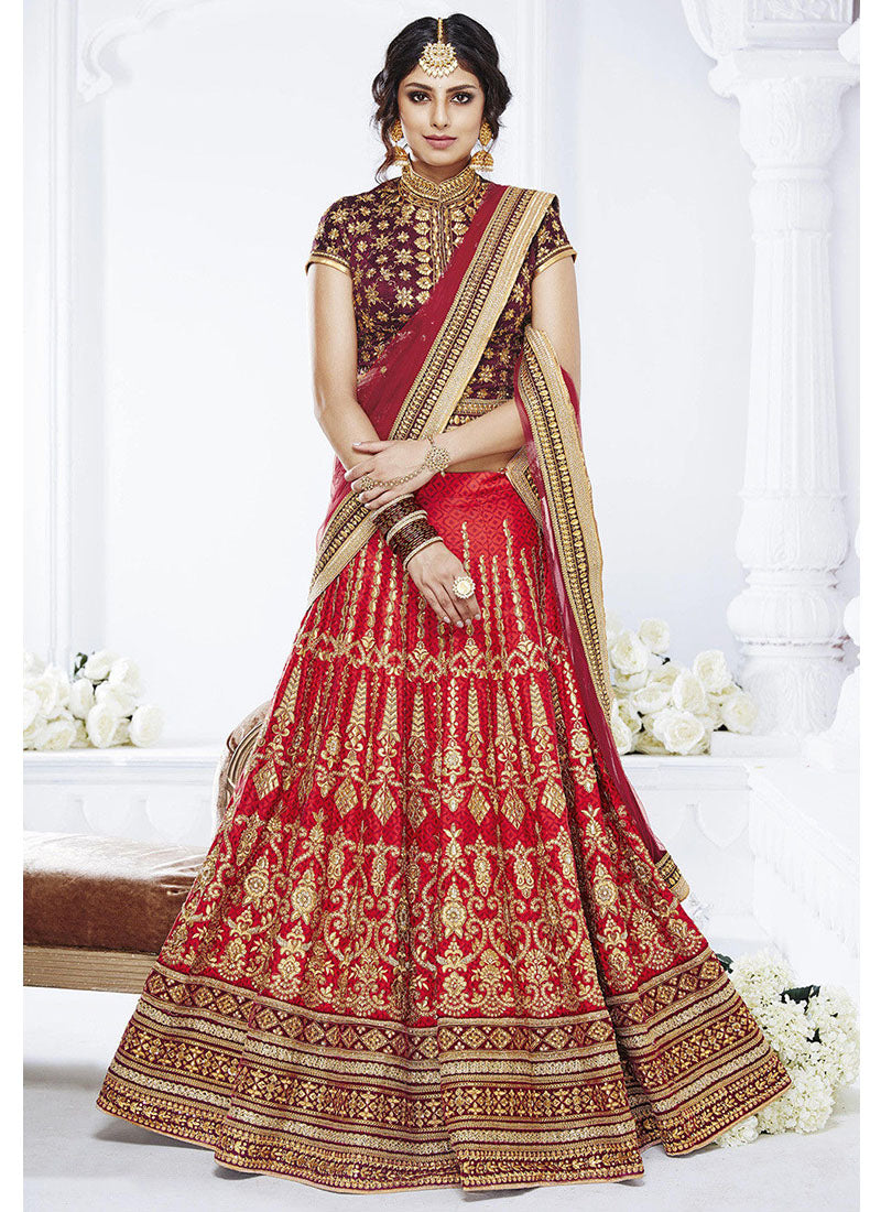 Red Art Silk Jacquard Lehenga Choli