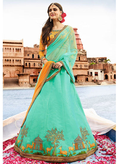 Semi Stitched Art Silk A line Lehenga in Pastel Blue