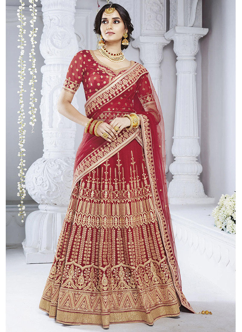 Red Bhagalpuri Silk Lehenga Choli