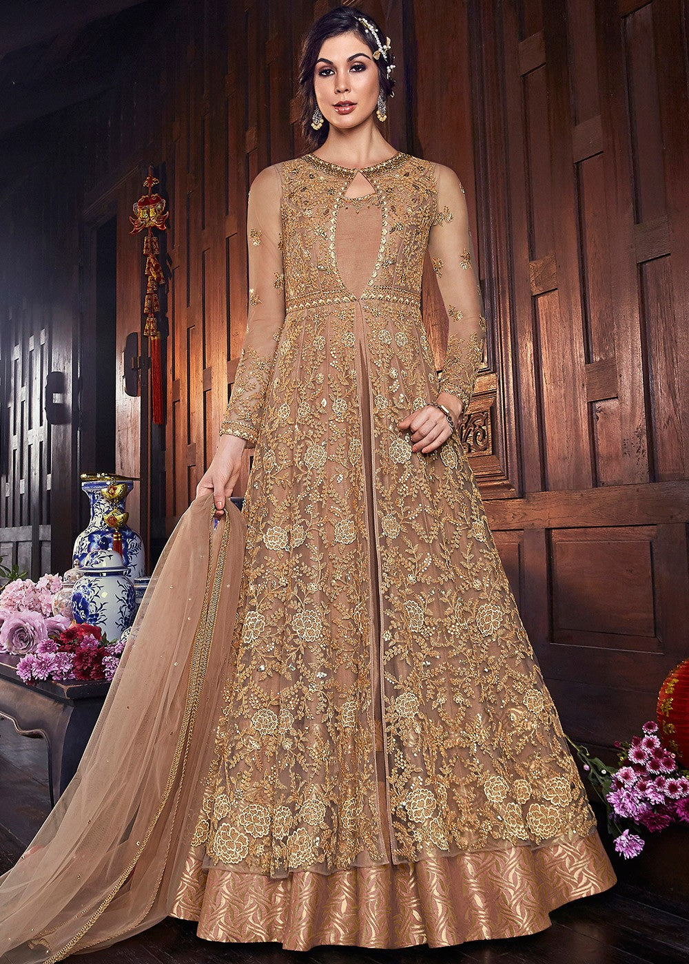 Embroidered Jacket Style Abaya Style Suit in Beige